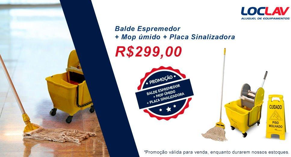 PROMOÇÃO IMPERDÍVEL DE BALDE ESPREMEDOR + MOP ÚMIDO + PLACA SINALIZADORA. FACILITE SUA LIMPEZA!